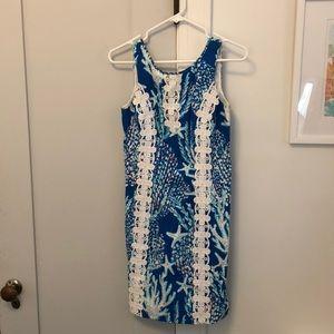 White coral starfish beach shift dress